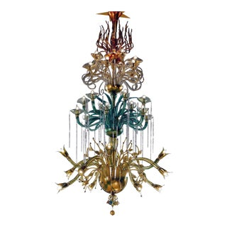 """Monumental Four Elements Venetian Glass Chandelier, """"Earth, Water, Air and Fire"""""""