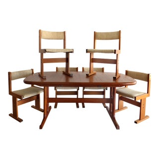 Mid-Century Danish Modern Teak Dining Set W/6 Chairs For Sale