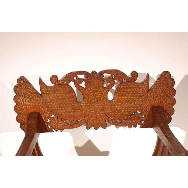 Islamic Hispano Moresque Savonarola Inlaid Armchair For Sale - Image 3 of 9