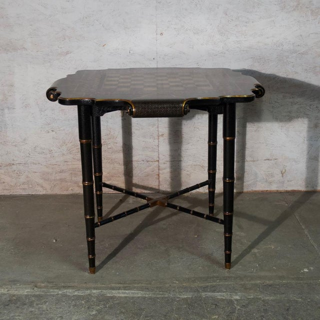 Hollywood Regency Black & Gold Gilt Game Table For Sale - Image 3 of 8