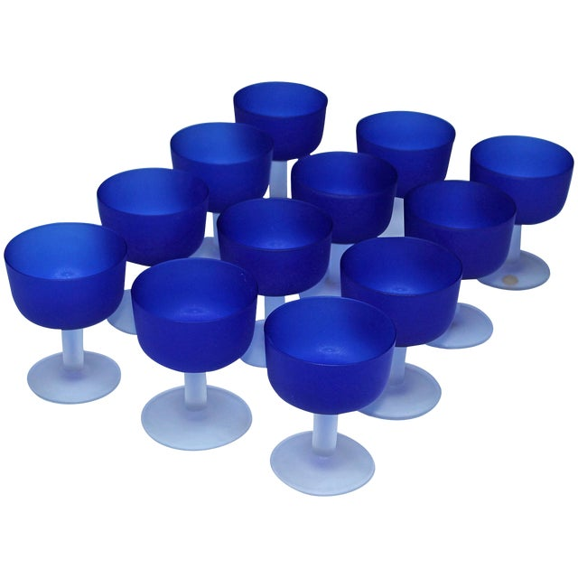 12 Italian Glass Goblets For Sale