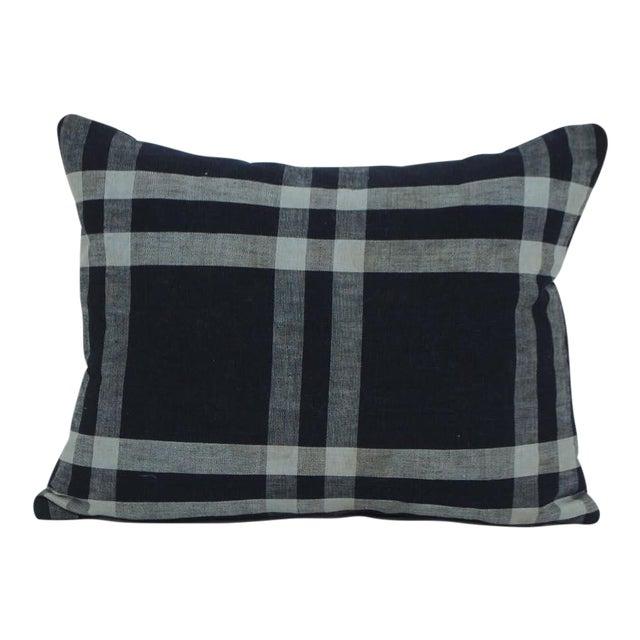 Japanese Cotton Shima Plaid Pillow For Sale