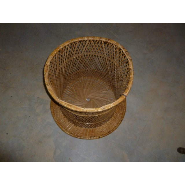 MCM Rattan Wicker Woven Round Side Table - Image 5 of 11