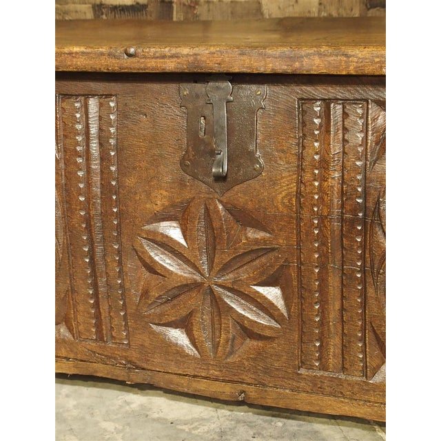 Oak Large Carved Oak Plank Trunk From the Basque Country, Circa 1650 For Sale - Image 7 of 13