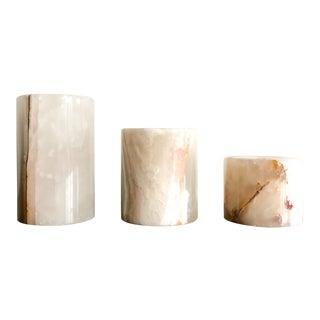 Onyx Pakistani Candlestick Holders, Set of 3 For Sale