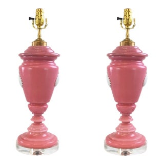 1960s Pink Murano Glass Table Lamps - A Pair For Sale