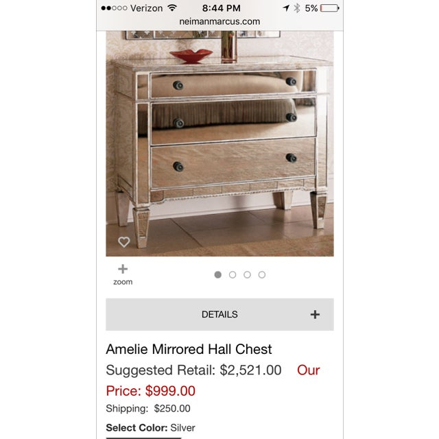 Neiman Marcus Amelie Mirrored Hall Chest - Image 5 of 5
