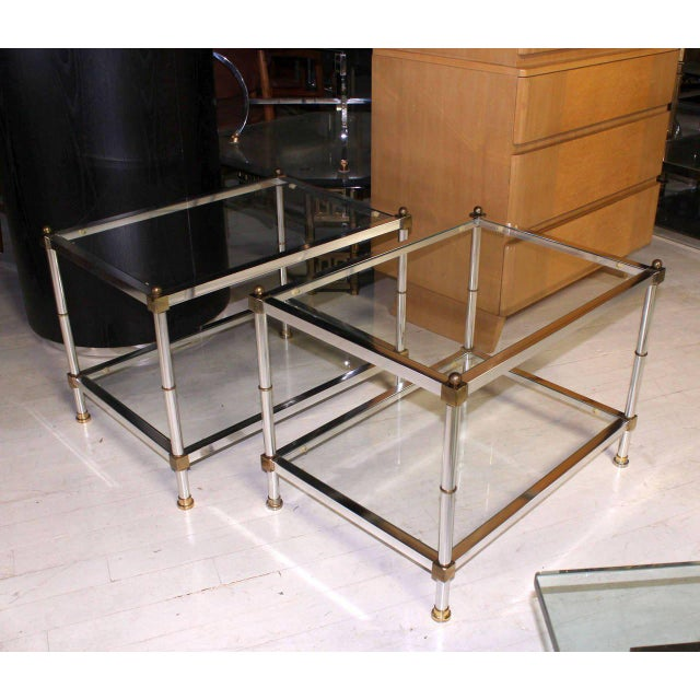 Pair of Mid-Century Modern Glass Brass Chrome Side or End Tables For Sale - Image 4 of 5