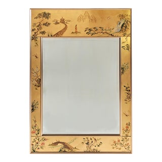 La Barge Chinoiserie Reverse Hand Painted Eglomise Mirror Hand Signed M. A. De Pree For Sale