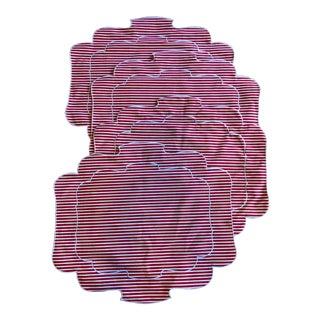 Red & White Striped Scalloped Placemats - Set of 4 For Sale