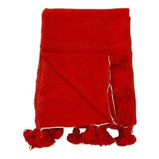 Red Moroccan Pom Pom Blanket