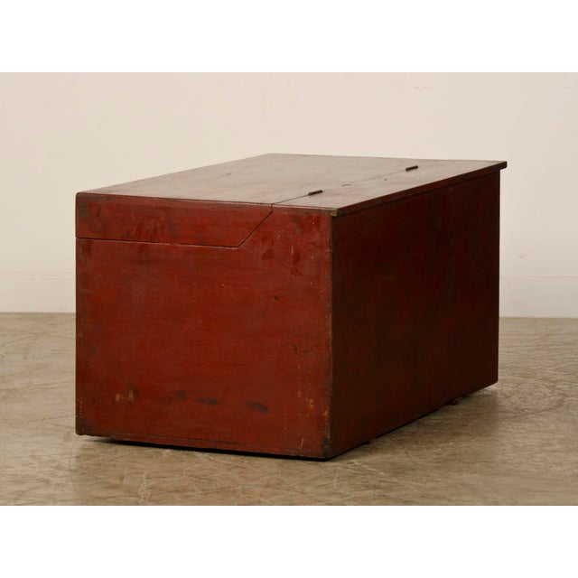 Late 19th Century Large Antique Chinese Red Lacquer Trunk Kuang Hsu period circa 1875 For Sale - Image 5 of 10