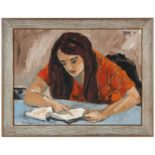"Rip Matteson ""Concord, Carla"" Portrait of Woman Reading Oil Painting on Canvas, 1970 For Sale"