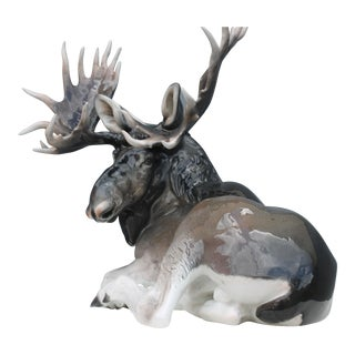 1970s Mid Century Modern Rosenthal Mammoth Porcelain Moose Sculpture For Sale