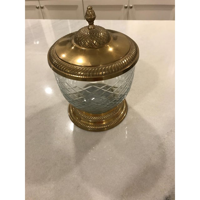 Brass & Cut Glass Lidded Jar - Image 2 of 5