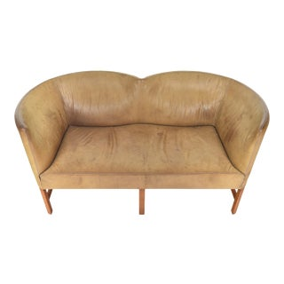 Danish Modern Curved Leather + Oak Loveseat For Sale