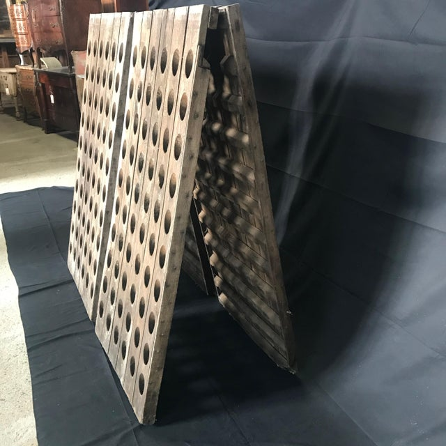 1950s Vintage Oak French Champagne or Wine Riddling Rack For Sale - Image 5 of 13