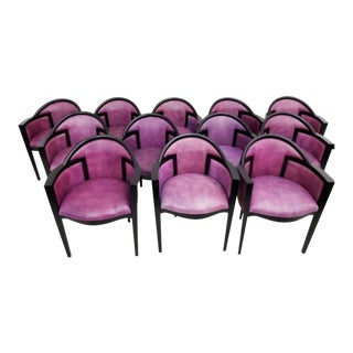 Custom Art Deco Dining Chairs by Renowned Los Angeles Designer- Set of 12 For Sale