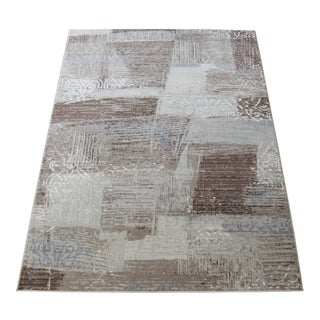 "Brown & Blue Faded Damask Transitional Rug - 6'7"" x 9'7"""
