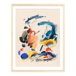 """""""Blue Notes No. 2"""" Abstract Painting With Primary Colors in Natural Wood Frame"""