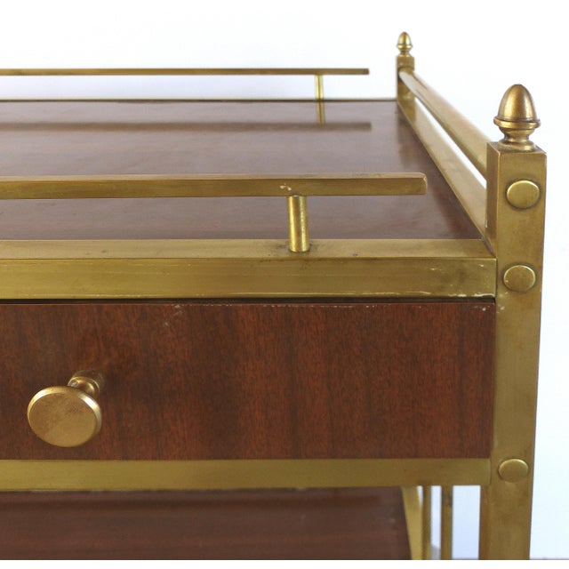 Brass Bi-Level Brass Rolling Bar Trolley W/ Wood Accents For Sale - Image 7 of 10