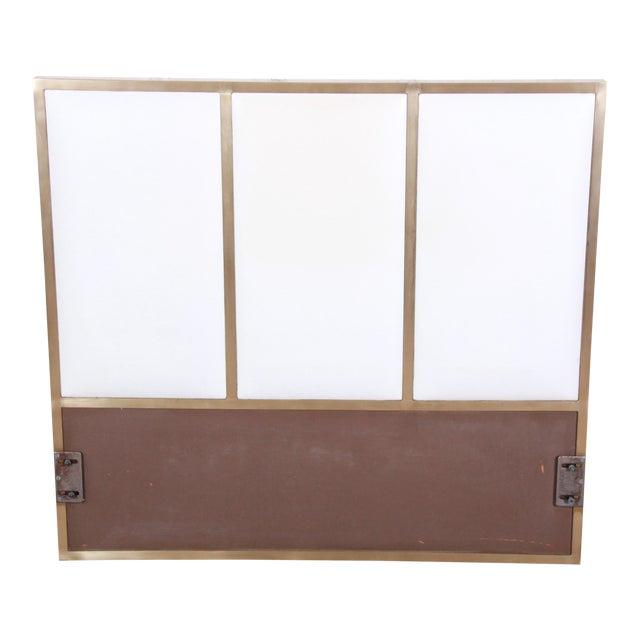 Paul McCobb for Calvin Furniture Brass and Naugahyde Twin Size Headboard For Sale
