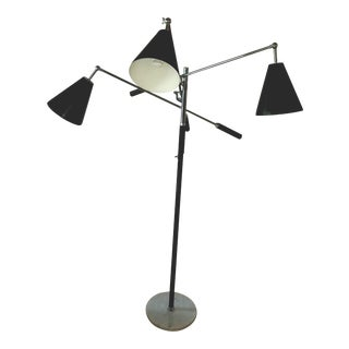 1960s Arreodeluce Treinale Chrome Leather and Marble 3 Arm Floor Lamp With Black Aluminum Shades For Sale