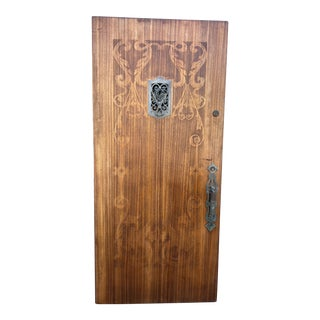 Carved 1920s Spanish Front Door With Hardware For Sale