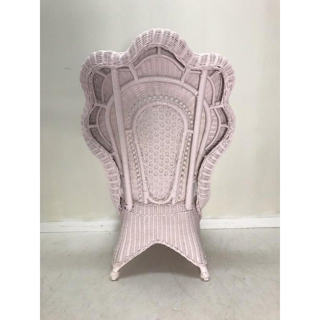 Victorian Wicker Victorian Scalloped Edged Accent Side Chair For Sale - Image 3 of 7