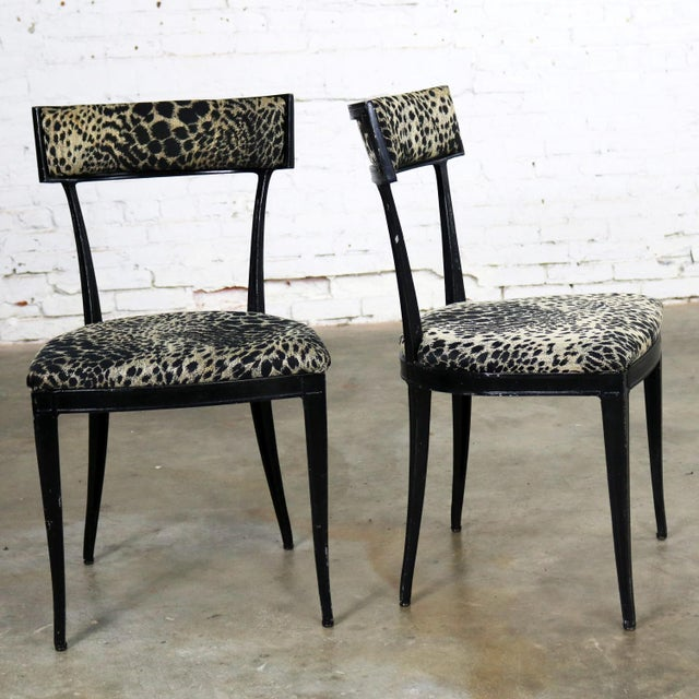 Aluminum Pair Black Art Deco and Animal Print Side Chairs Cast Aluminum by Crucible Products For Sale - Image 7 of 13