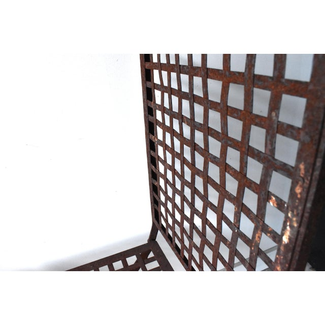 Vintage 1940s Wrought Iron Folding Garden Chairs - a Pair For Sale - Image 9 of 11