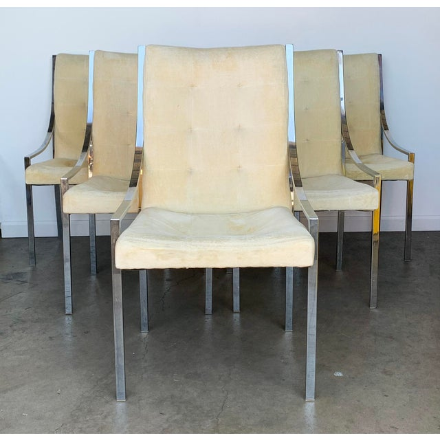 1970s Set of 6 Chrome Dining Chairs Attributed to Milo Baughman For Sale - Image 5 of 9