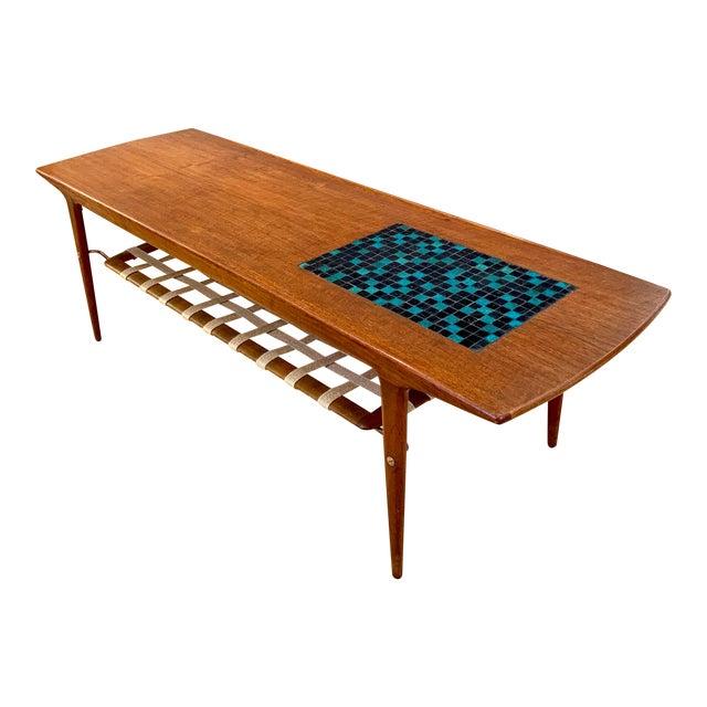 1960s Danish Modern Arne Hovmand-Olsen Teak Coffee Table With Tile Inlay For Sale