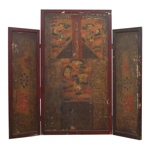 Asian Motif Folding Screen For Sale