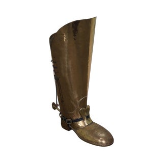 English Brass Boot Umbrella Cane Stand For Sale
