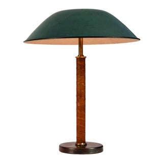 1940s Böhlmarks Brass and Leather Table Lamp For Sale