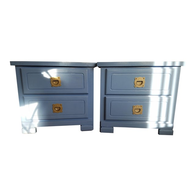 Handpainted Light Blue Nightstands - a Pair For Sale