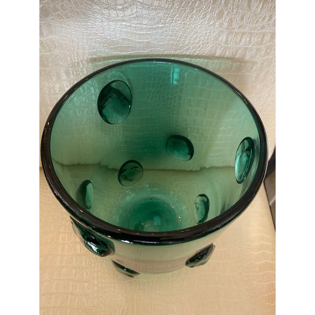 Mid-Century Murano Green Glass Vase For Sale - Image 10 of 13