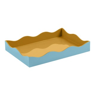 The Lacquer Company for Chairish Belle Rives Tray in Mayan Gold / Bluebird, Medium For Sale