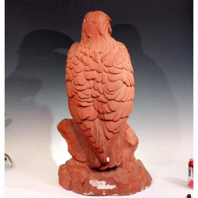 American Golden Eagle Sculpture Large Painted Plaster Figure Signed For Sale - Image 4 of 11