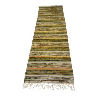 "19th Century Swedish Handmade Rag Rug - 29""x 98"" For Sale"