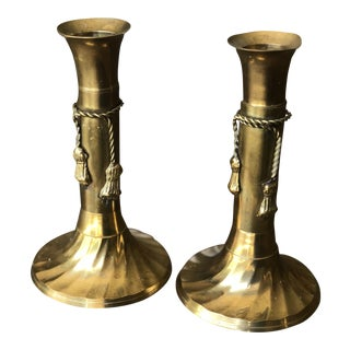 Brass Tassel Candle Holders - A Pair For Sale