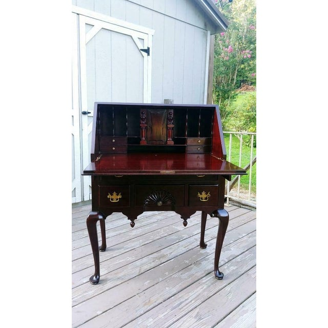 1920s Antique Queen Anne Solid Mahogany Slant Drop Front Secretary Desk For Sale - Image 5 of 13
