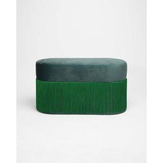 New Large Pouf Pill Green Bottle in Velvet Upholstery With Fringes by Houtique Preview