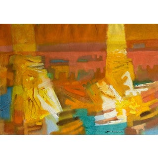 Mid-Century Gouache Abstract by Jason Schoener For Sale