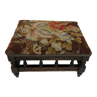 Antique English Carved Walnut Needlepoint Footstool For Sale