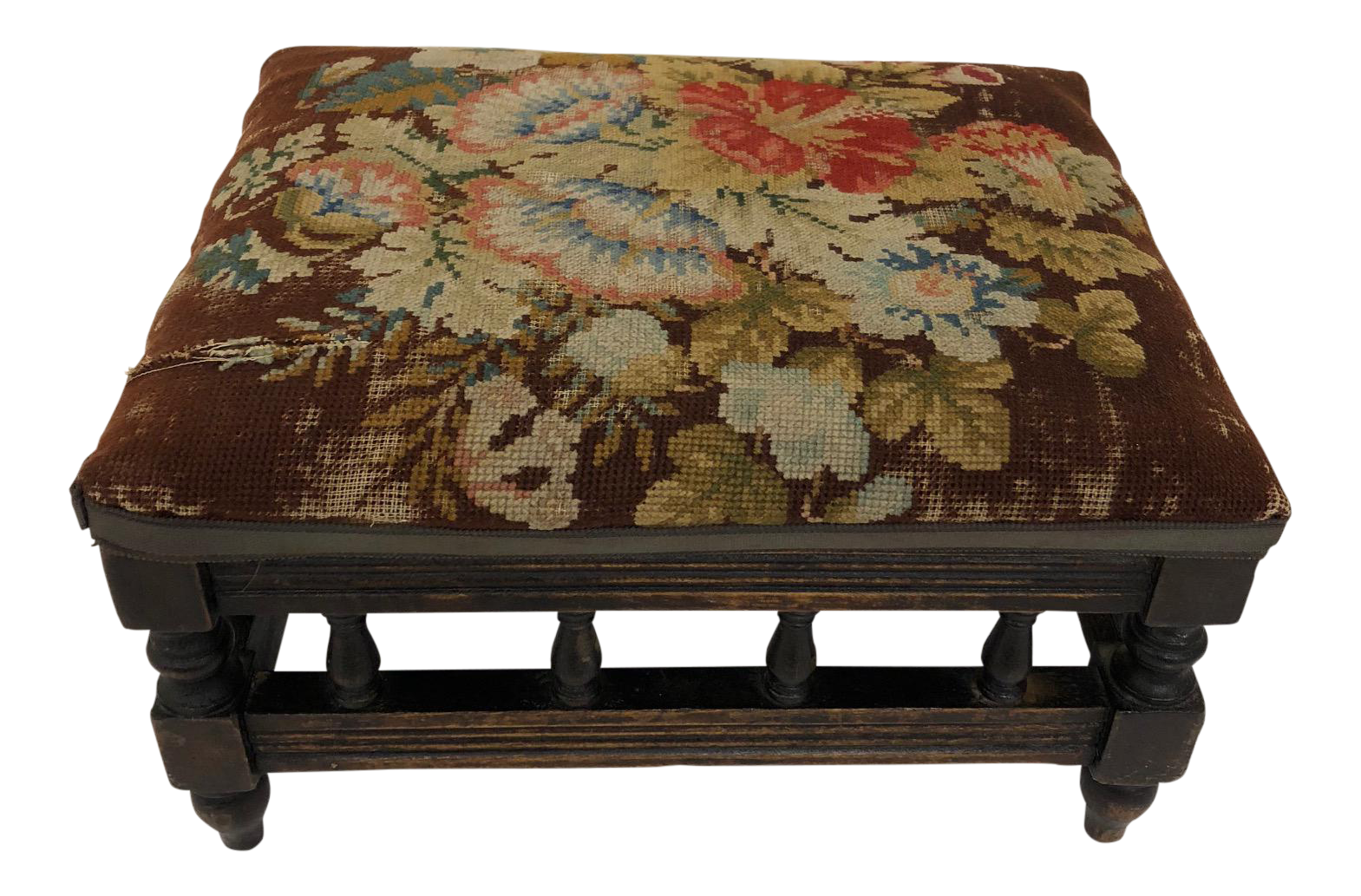 Antique English Carved Walnut Needlepoint Footstool