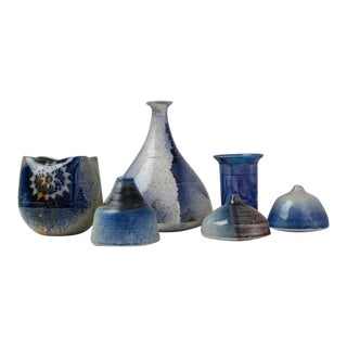 Franco Agnese Set of Six Ceramic Vases in Blue, France, 1960s For Sale