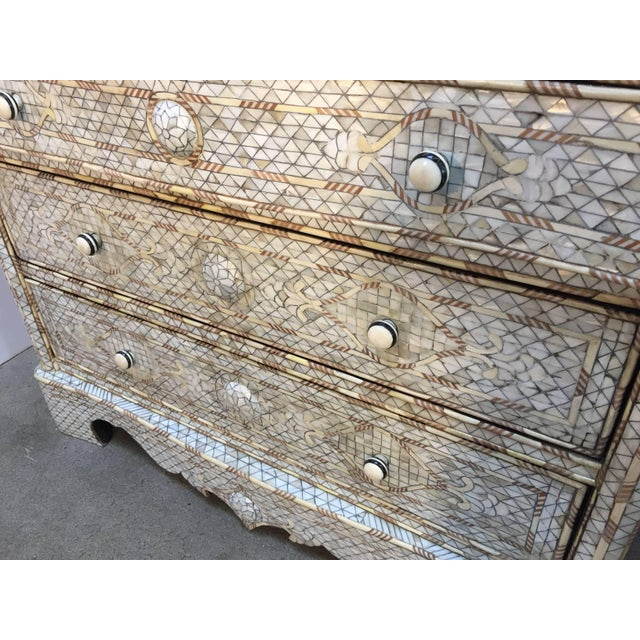 Mid 20th Century White Syrian Wedding Chest of Drawers Inlay with Mother-Of-Pearl For Sale - Image 5 of 9