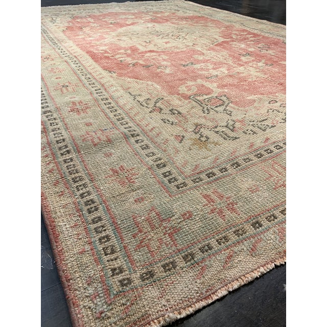 Turkish 1920s Antique Distressed Turkish Oushak Area Rug - 6′6″ × 9′4″ For Sale - Image 3 of 13